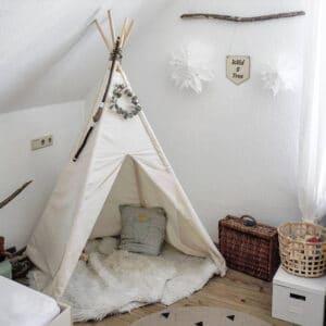 Meintipi Tipi Zelt Kinderzimmer Indianer Spielzelt Beige Natur