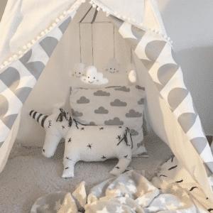Meintipi Tipi Zelt Kinderzimmer Circle Halbkreis Spielzelt Weiß Grau
