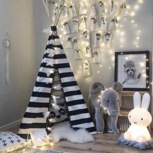 Meintipi Tipi Zelt Kinderzimmer Black and White gestreift Spielzelt Schwarz Weiß Streifen
