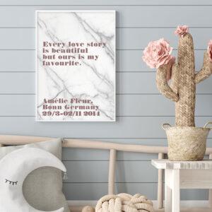 Meintipi Lovestory Poster Typographie Personalisiert Liebe Altrosa Marmor