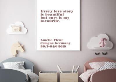 Meintipi Lovestory Poster Typographie Personalisiert Liebe Altrosa Weiß