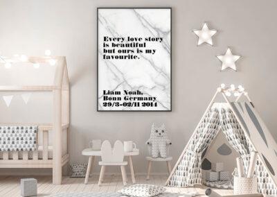 Meintipi Lovestory Poster Typographie Personalisiert Liebe Schwarz Marmor