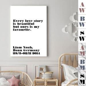 Meintipi Lovestory Poster Typographie Personalisiert Liebe Schwarz Weiß