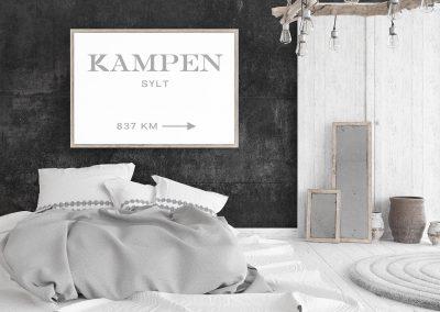 Meintipi Wunschort Typographie Poster Prada Marfa Stil Schwarz Weiß Grau
