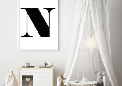 Meintipi Buchstabe Poster Typographie Personalisiert Schwarz Weiß