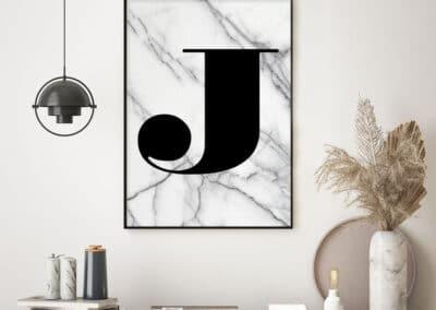 Meintipi Buchstabe Poster Typographie Personalisiert Schwarz Weiß Marmor