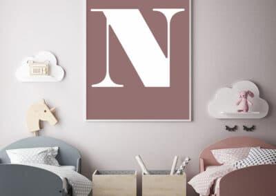 Meintipi Buchstabe Poster Typographie Personalisiert Weiß Altrosa
