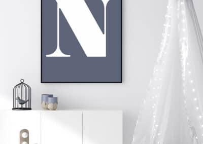 Meintipi Buchstabe Poster Typographie Personalisiert Weiß Blau