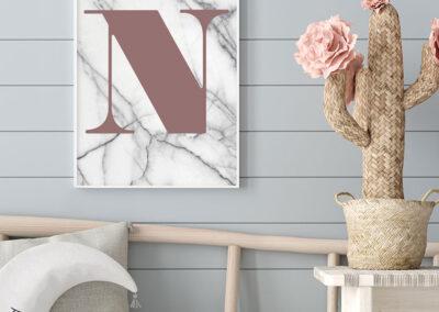 Meintipi Buchstabe Poster Typographie Personalisiert Altrosa Weiß Marmor
