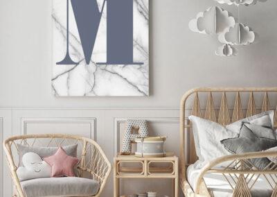Meintipi Buchstabe Poster Typographie Personalisiert Blau Weiß Marmor