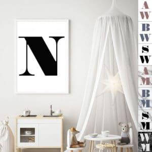 Meintipi Buchstabe Poster Typographie Personalisiert Schwarz Weiß Farbübersicht