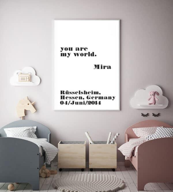 Meintipi Typographie Poster Kinderzimmer Schwarz Weiß Our Your World