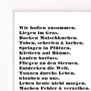 Meintipi Hausordnung Poster Typographie Personalisiert Schwarz Weiß