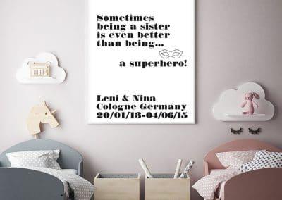 Meintipi Superhelden Sister Hero Poster Kinderzimmer