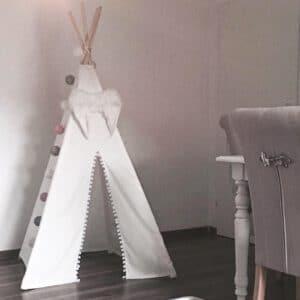Meintipi Tipi Zelt Kinderzimmer ALL WHITE Spielzelt Weiß mit Bommel