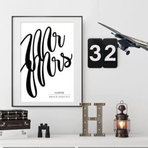 Meintipi Mr&Mrs Poster Typographie Wohnzimmer Schlafzimmer Hochzeit