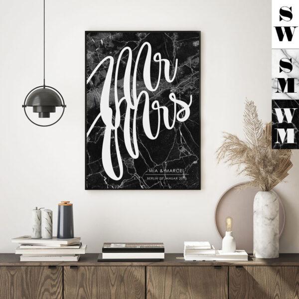 Meintipi Mr&Mrs Poster Typographie Wohnzimmer Schlafzimmer Hochzeit Farbauswahl