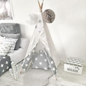 Meintipi Stars Tipi Zelt Kinderzimmer Spielzelt Sterne Weiß Grau mit Sternen