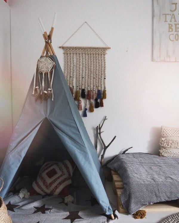 Meintipi Tipi Zelt Indigo Kinderzimmer Spielzelt Blau Natur