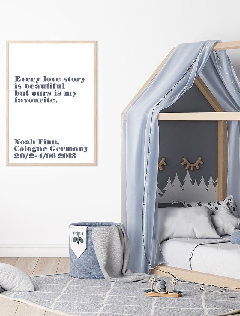 Meintipi Buchstabe Typographie Poster Kinderzimmer Blau