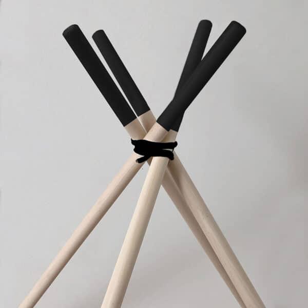 Meintipi Stangen für Tipi Zelt Natur mit schwarzen Spitzen
