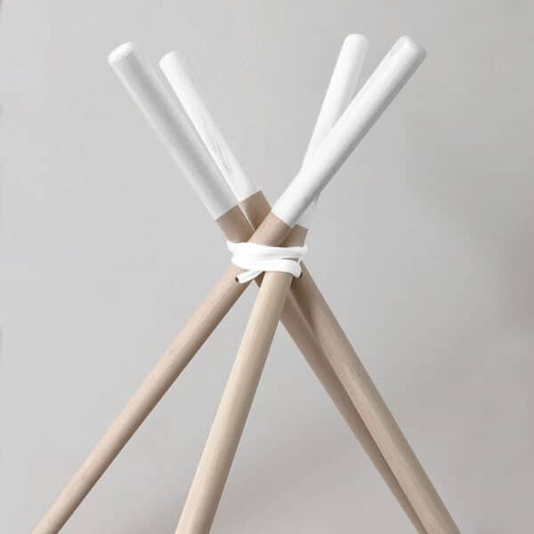 Meintipi Stangen für Tipi Zelt Natur mit weißen Spitzen