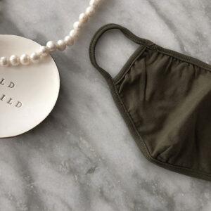 Behelfs Mund-Nasen Maske Sand Baumwolle Olive