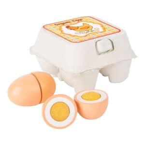 Eier aus Holz zum Schneiden mit Klettverbindung