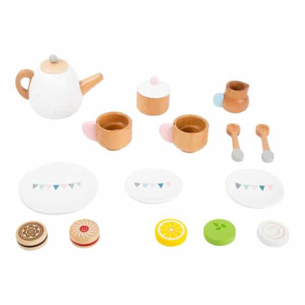 Teeservice mit Tassen, Kanne, Teller und Gebäck