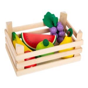 Obst mit Kiste für Kaufladen, Holz