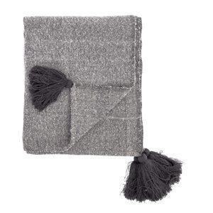 Decke Grau Meliert mit Quasten