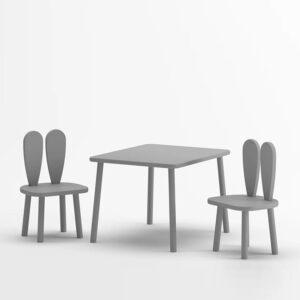 Tisch und Stuhl Set Hasenohren Grau