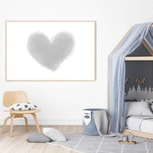 Herz Aquarell Poster Meintipi Grau Weiß